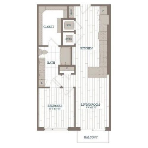 A2-Guggenheim Floor Plan | 1 Bedroom with 1 Bath | 750 Square Feet | The Hudson | Apartment Homes