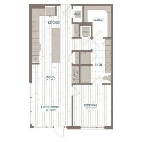 A4-Plaza Floor Plan | 1 Bedroom with 1 Bath | 873 Square Feet | The Hudson | Apartment Homes