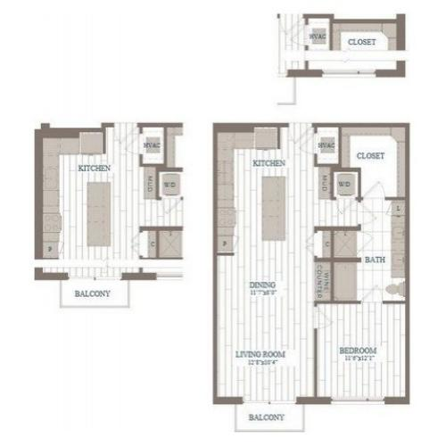 A5a-Waldorf Floor Plan | 1 Bedroom with 1 Bath | 912 Square Feet | The Hudson | Apartment Homes