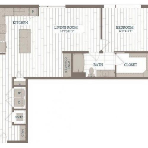 A6-Broadway Floor Plan | 1 Bedroom with 1 Bath | 958 Square Feet | The Hudson | Apartment Homes