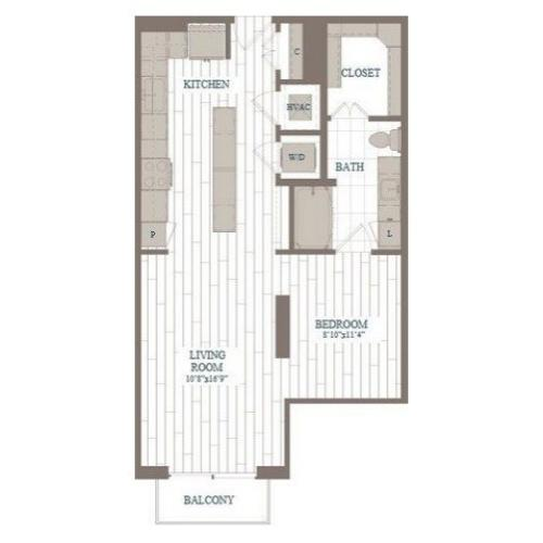 S1-Liberty Floor Plan | 1 Bedroom with 1 Bath | 730 Square Feet | The Hudson | Apartment Homes