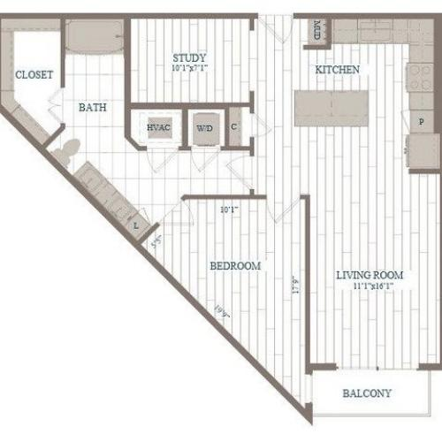 A20-Radio City w/ Study Floor Plan | 1 Bedroom with 1 Bath | 924 Square Feet | The Hudson | Apartment Homes