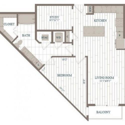 A20a-Empire w/ Study Floor Plan | 1 Bedroom with 1 Bath | 895 Square Feet | The Hudson | Apartment Homes