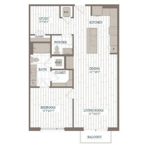 A30-Rockettes w/ Study Floor Plan | 1 Bedroom with 1.5 Bath | 948 Square Feet | The Hudson | Apartment Homes