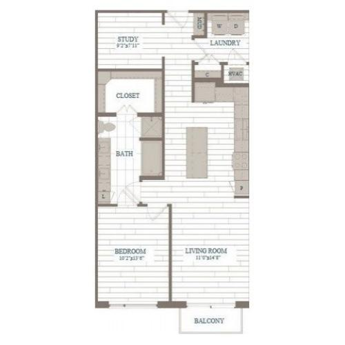 A40-Central Park w/ Study Floor Plan | 1 Bedroom with 1 Bath | 971 Square Feet | The Hudson | Apartment Homes