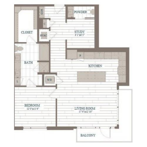 A50-Chelsea w/ Study Floor Plan | 1 Bedroom with 1.5 Bath | 1053 Square Feet | The Hudson | Apartment Homes