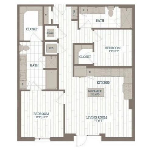 B3-Apple Floor Plan | 2 Bedroom with 2 Bath | 1009 Square Feet | The Hudson | Apartment Homes