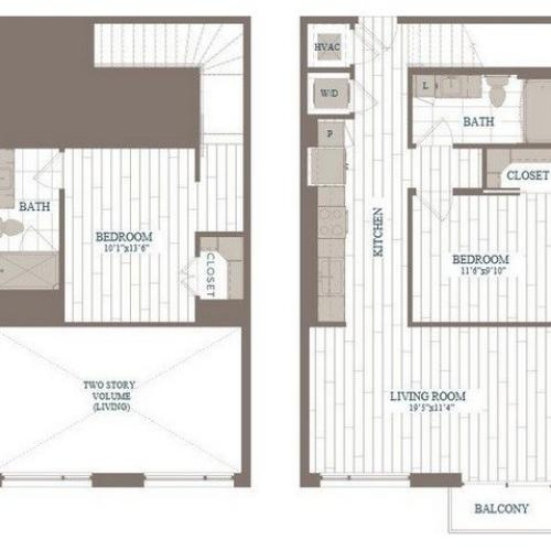 B10a-Rockefeller Floor Plan | 2 Bedroom with 2 Bath | 996 Square Feet | The Hudson | Apartment Homes