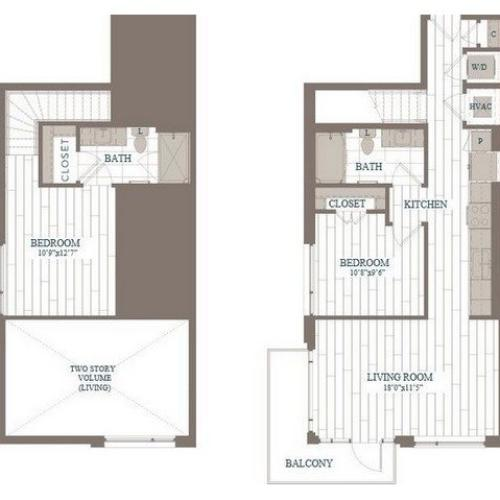 B20a-Tribeca Floor Plan | 2 Bedroom with 2 Bath | 999 Square Feet | The Hudson | Apartment Homes