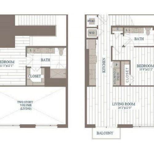 B30b-Greenwich Floor Plan | 2 Bedroom with 2 Bath | 1224 Square Feet | The Hudson | Apartment Homes
