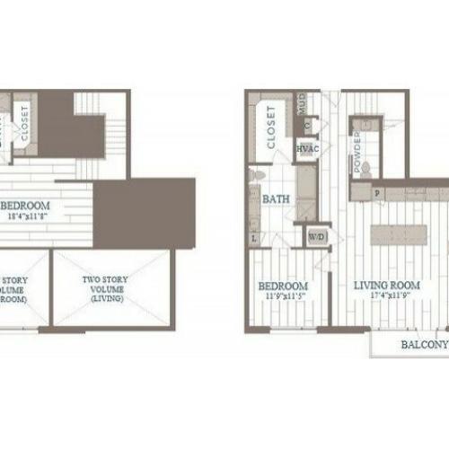B50b-Brooklyn Floor Plan | 2 Bedroom with 2.5 Bath | 1404 Square Feet | The Hudson | Apartment Homes