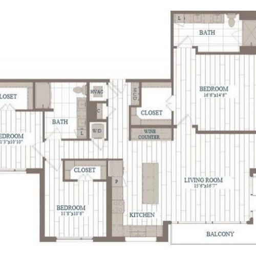 C1-Battery Floor Plan | 3 Bedroom with 2 Bath | 1631 Square Feet | The Hudson | Apartment Homes