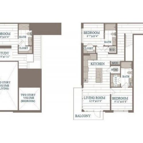 C60b-Queens Floor Plan | 3 Bedroom with 3 Bath | 1435 Square Feet | The Hudson | Apartment Homes