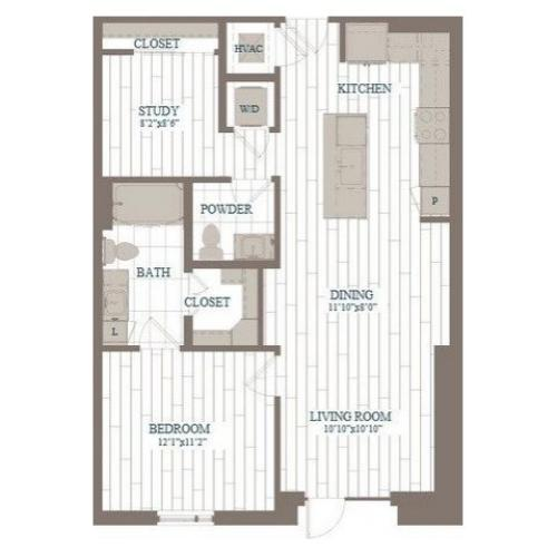 A10-Midtown w/ Study Floor Plan | 1 Bedroom with 1.5 Bath | 897 Square Feet | The Hudson | Apartment Homes