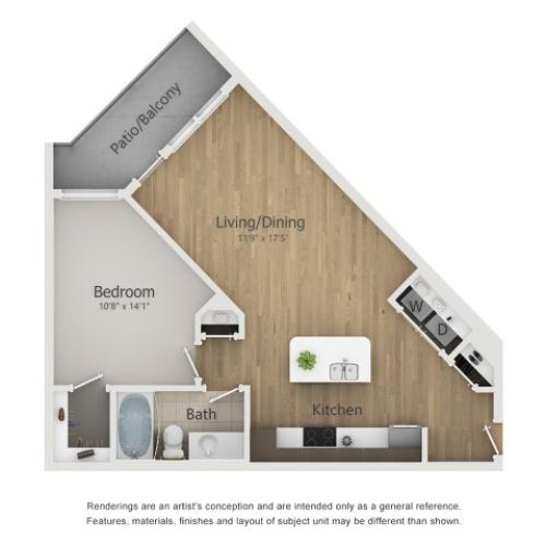 Esquire Floor Plan | 1 Bedroom with 1 Bath | 718 Square Feet | The Melrose | Apartment Homes