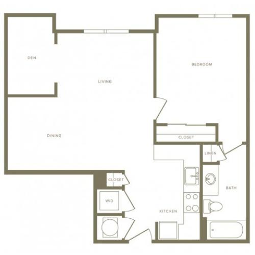 799 square foot one bedroom one bath with den apartment floorplan image