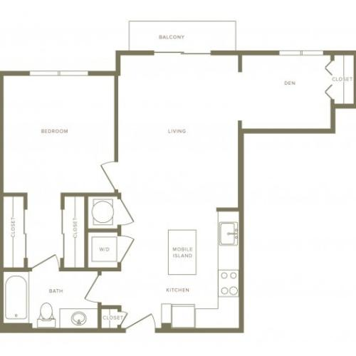 807 square foot one bedroom one bath with den apartment floorplan image