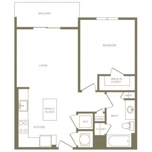 662 square foot one bedroom one bath apartment floorplan image