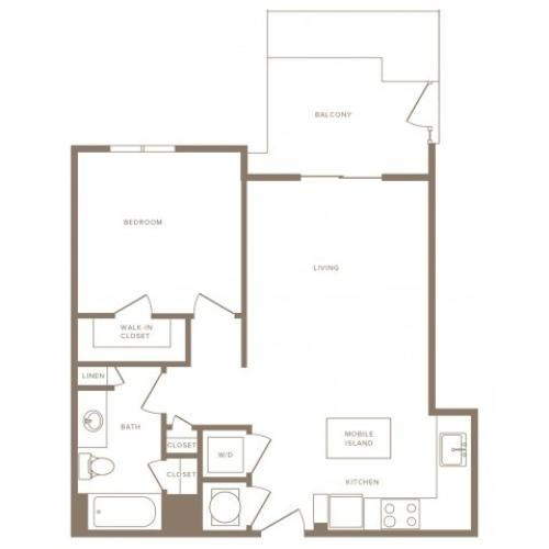 682 square foot one bedroom one bath apartment floorplan image