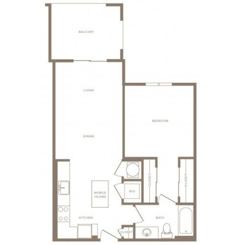 734 square foot one bedroom one bath apartment floorplan image