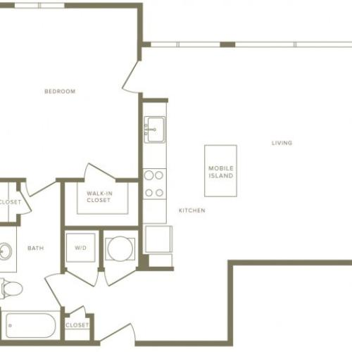 818 square foot one bedroom one bath apartment floorplan image