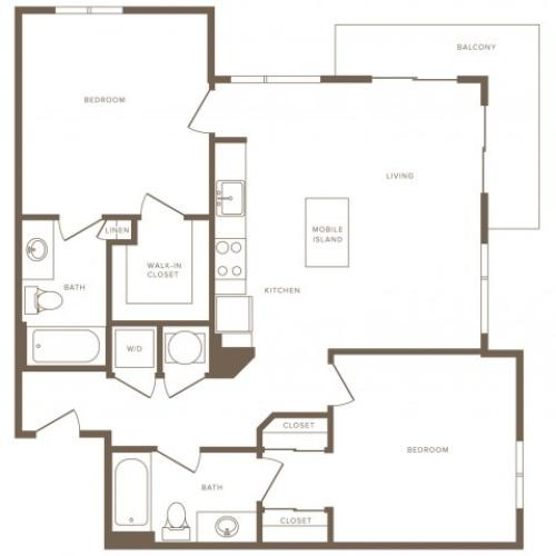 1048 square foot two bedroom two bath apartment floorplan image