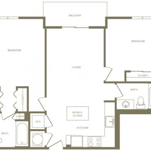 943 square foot two bedroom two bath apartment floorplan image