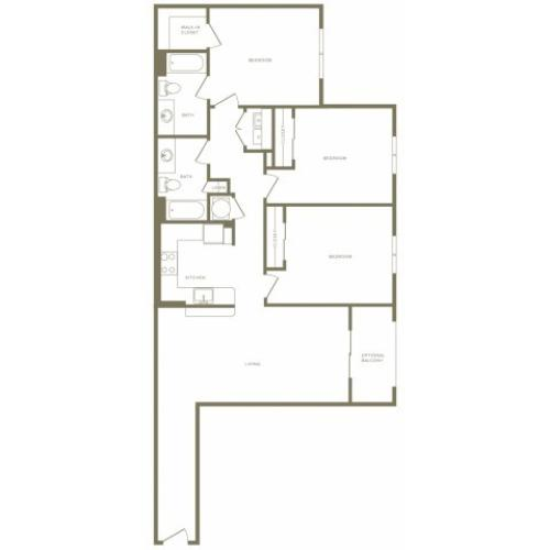 1307 square foot three bedroom two bath apartment floorplan image