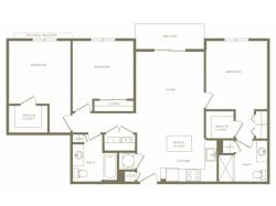 1215 square foot three bedroom two bath apartment floorplan image