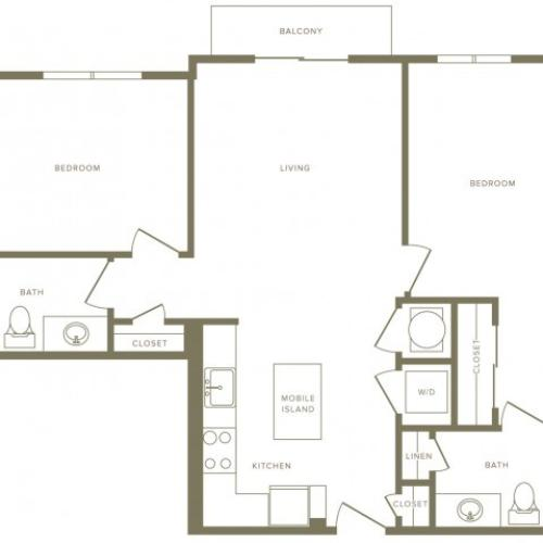 990 square foot two bedroom two bath apartment floorplan image