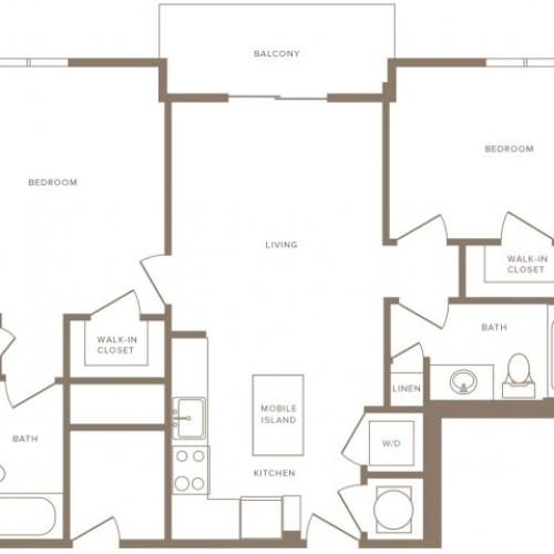 929 square foot two bedroom two bath apartment floorplan image