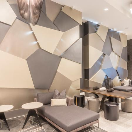 Lobby Staircase and Lobby Lounge Seating with Free Wi-Fi | Modera Midtown