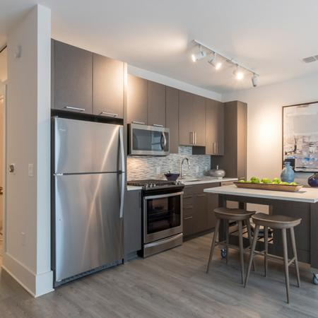 Kitchen with Moveable Island in Two-Bedroom Apartment