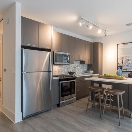 Kitchen with Moveable Island in Two-Bedroom Apartment | Modera Midtown