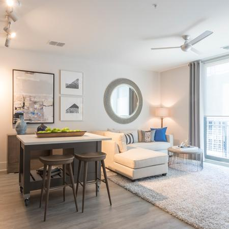 Wood Plank-Style Floors and Moveable Kitchen Island | Modera Midtown
