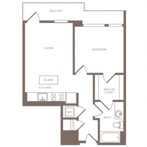627 square foot one bedroom one bath high-rise apartment floorplan image