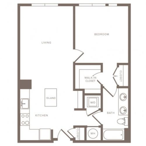 775 to 796  square foot one bedroom one bath apartment floorplan image