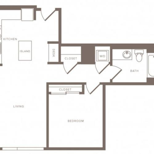 738 square foot one bedroom one bath high-rise apartment floorplan image