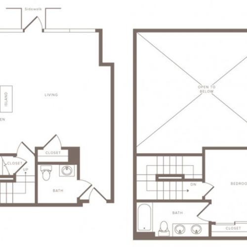 1061 square foot one bedroom two bath loft apartment floorplan image