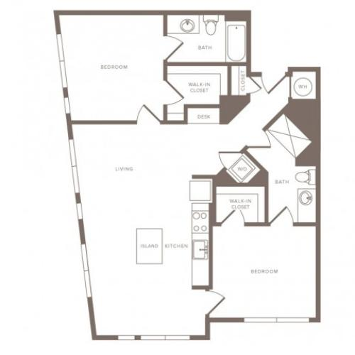 1127 square foot two bedroom two bath apartment floorplan image