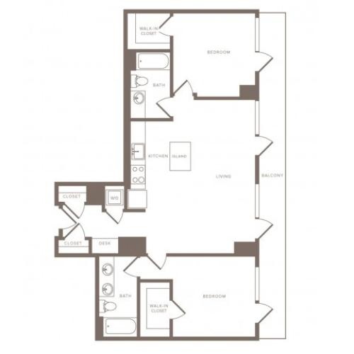 1115 square foot two bedroom two bath high-rise apartment floorplan image