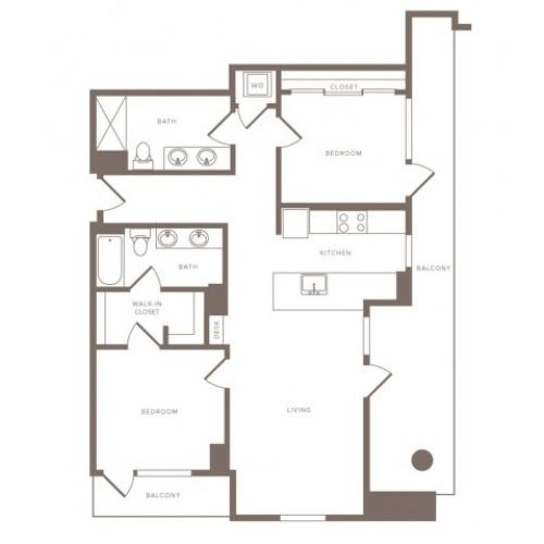 1231 square foot two bedroom two bath high-rise apartment floorplan image