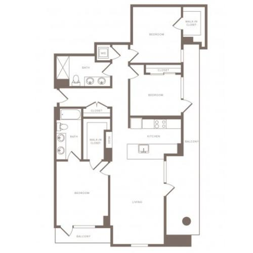 1458 square foot three bedroom two bath high-rise apartment floorplan image