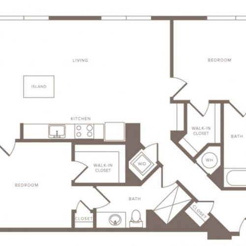 1220 square foot two bedroom two bath ADA apartment floorplan image