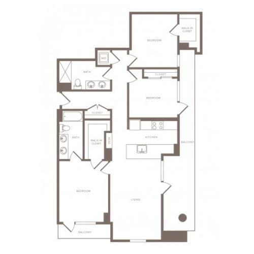 1458 square foot three bedroom two bath penthouse apartment floorplan image