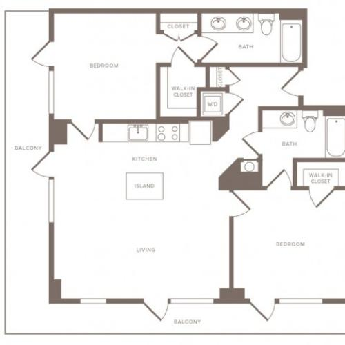 1153 square foot two bedroom two bath penthouse apartment floorplan image