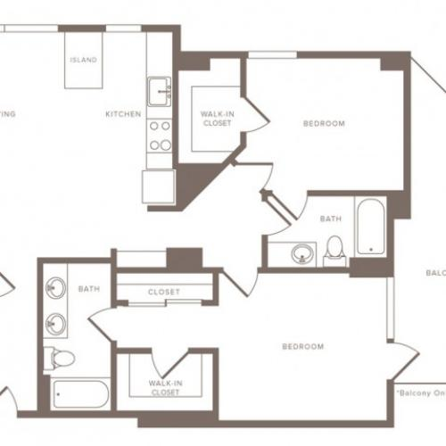 1217 square foot two bedroom two bath penthouse apartment floorplan image
