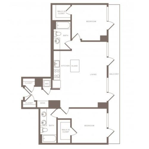1115 square foot two bedroom two bath penthouse apartment floorplan image