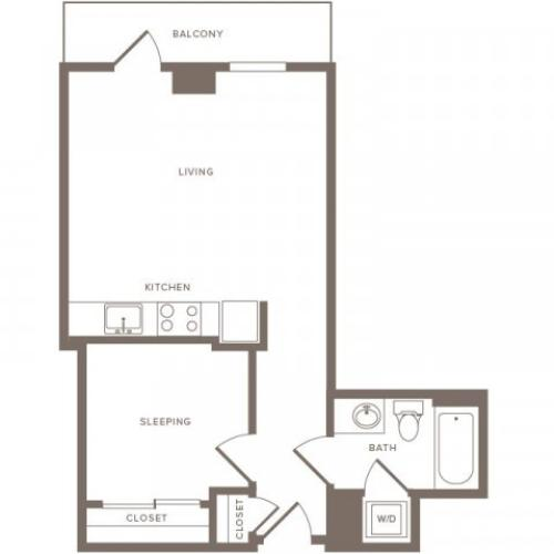 564 square foot one bedroom one bath apartment floorplan image