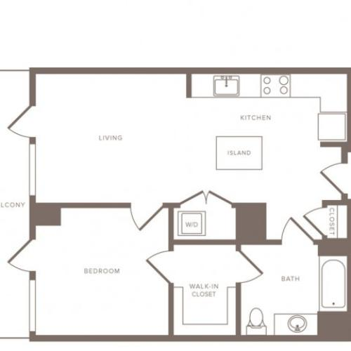 745 square foot one bedroom one bath high-rise apartment floorplan image